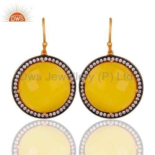 18K Gold Plated Sterling Silver Moonstone Earrings