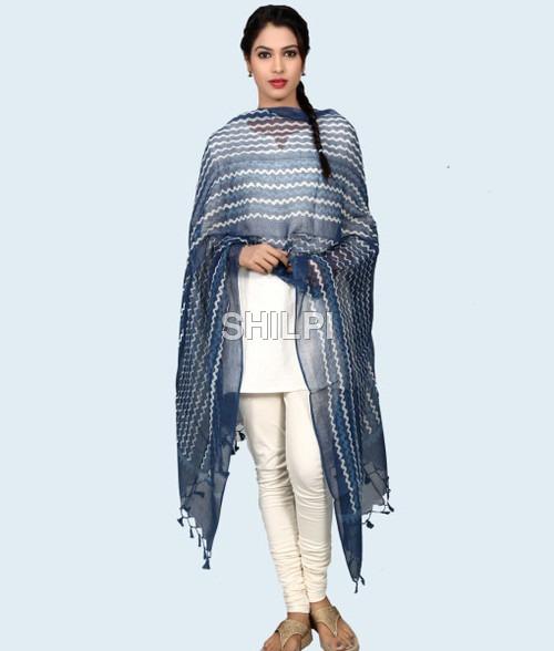 Silk Kota Hand Block Printed Indigo Blue Dupatta