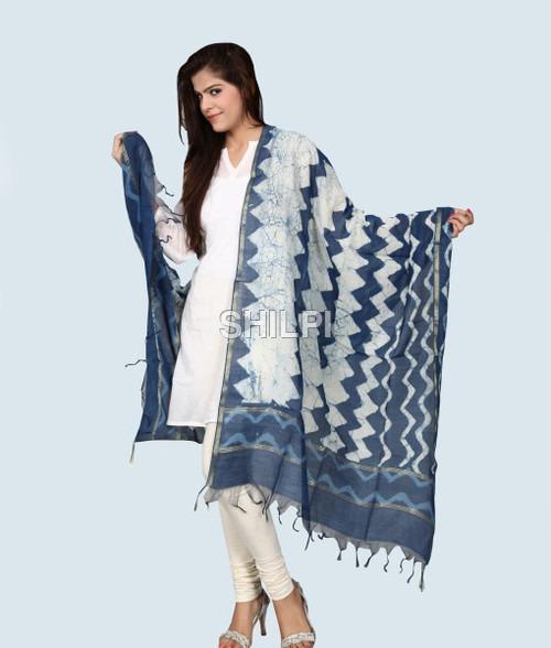 Chanderi Silk Hand Block Printed Dupatta