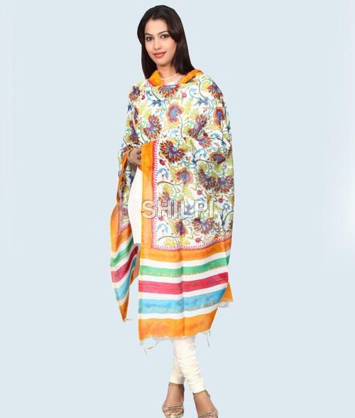 Silk Kota Hand Block Printed Multi Color Dupatta