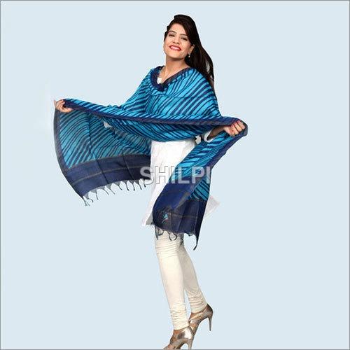 Chanderi Silk Hand Block Leheria Printed Blue
