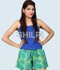 Blue and Green Printed hot pant