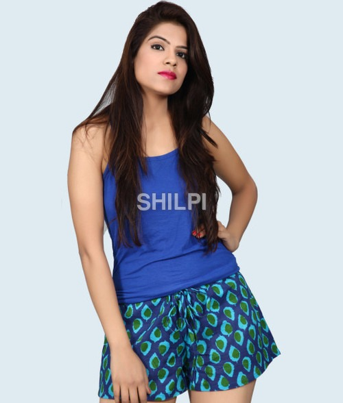 Blue Printed hot pant