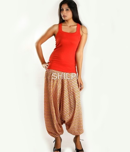 Cotton Pink and Yellow Harem Pants