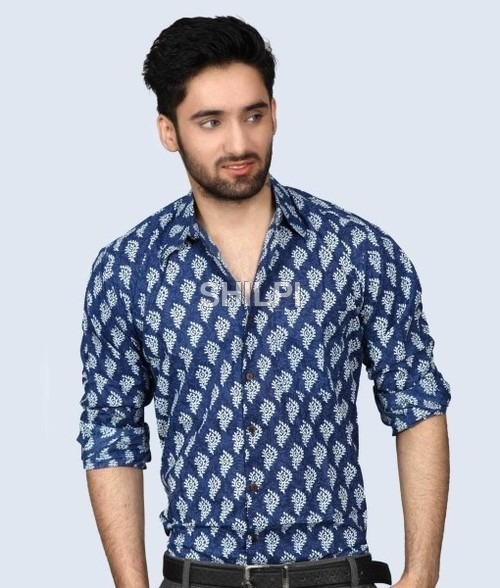 Indigo Blue Printed Full Sleeves Cotton Shirt
