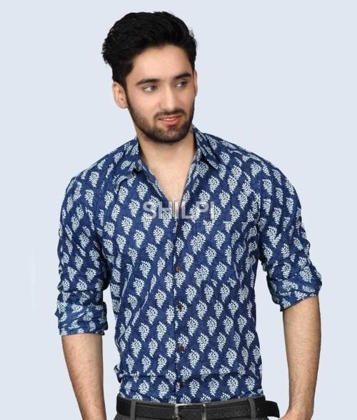 Indigo Blue Printed Full Sleeves Cotton Shirt