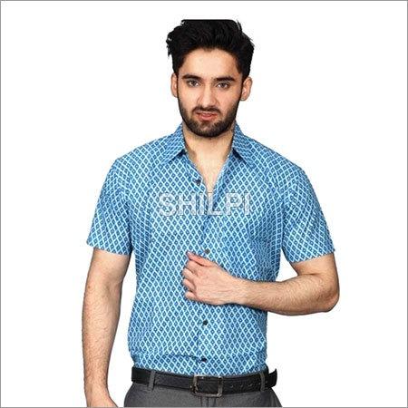 Sky Blue Printed Cotton Half Sleeves Shirt