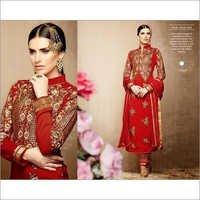 Red Tussar Silk Salwar Kameez