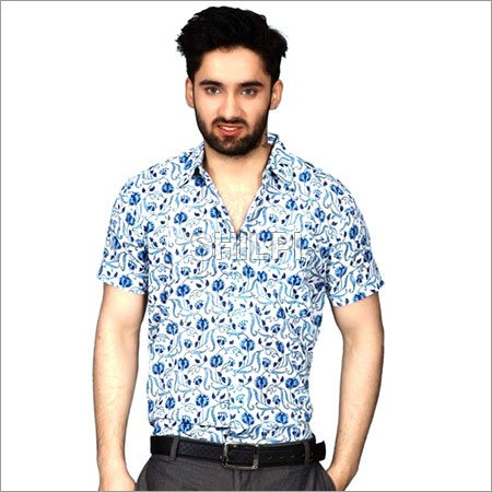 White and Blue Floral Printed Textured Cotton Half Sleeves Shirt