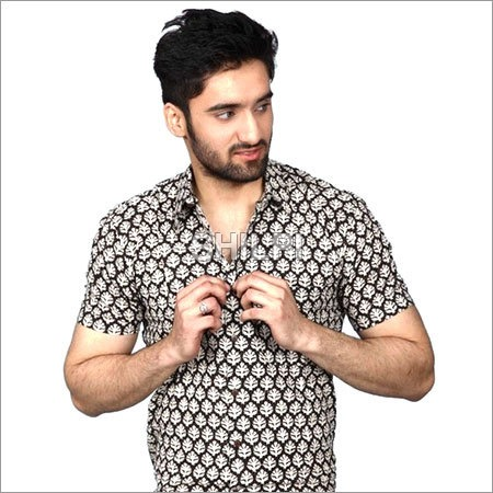 Black and White Printed Textured Cotton Half Sleeves Shirt