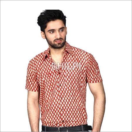 Deep Red Printed Textured Cotton Half Sleeves Shirt