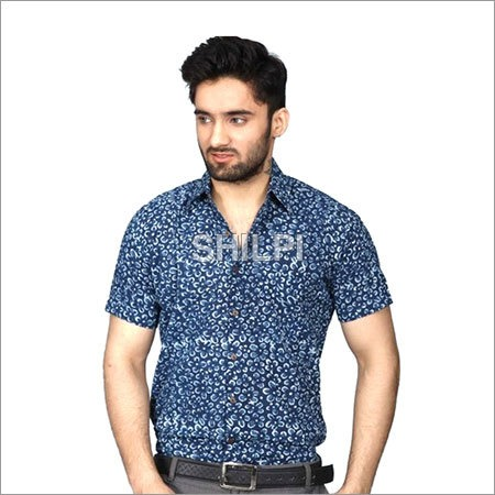 Indigo Blue Floral Printed Textured Cotton Half Sleeves Shirt