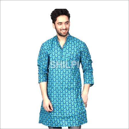 Blue Printed Cotton Full Length Kurta