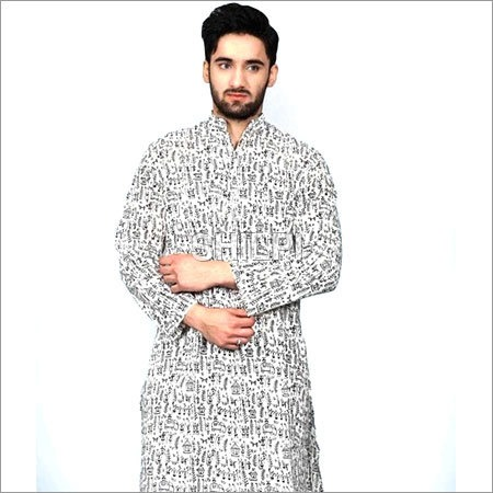 White Printed Cotton Full Length Kurta