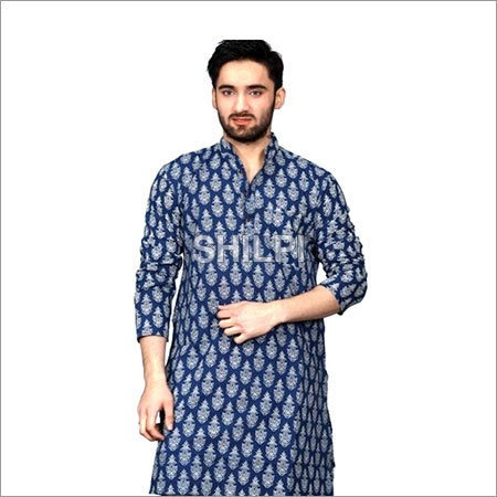 Indigo Blue Printed Cotton Full Length Kurta