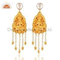 22k Gold On Sterling Silver Temple Earrings