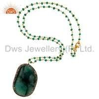 Sterling Silver Pave Diamond & Emerald Pendants