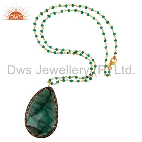 Pave Diamond Sterling Silver Emerald Pendant