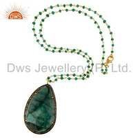 Pave Diamond Sterling Silver Emerald Pendant