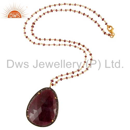 Ruby and Pave Diamond Sterling Silver Pendant