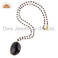 Blue Sapphire Pave Diamond Silver Amethyst Pendant