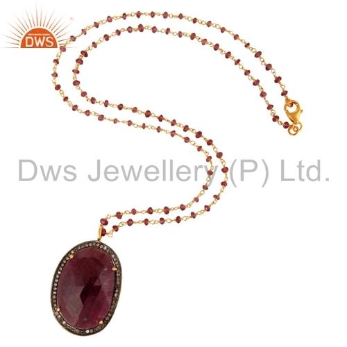 18K Gold On Sterling Silver Pave Diamond Ruby Gemstone Pendant