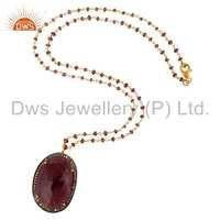 18K Gold On Sterling Silver Pave Diamond Ruby Gemstone Pendant