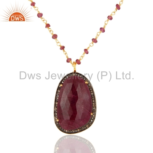 18K Gold Plated Sterling Silver Ruby Pave Diamond Pendant
