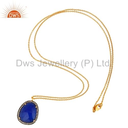 14K Gold Plated Blue Aventurine Brass Pendant
