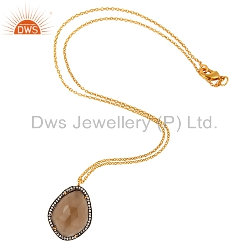 22k Gold Plated Brass Smoky Quartz Pendant