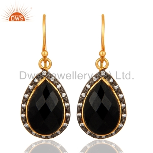 Black Onyx Gold Vermeil Sterling Silver Earrings
