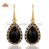 Black Onyx Gold Vermeil Sterling Silver Earrings