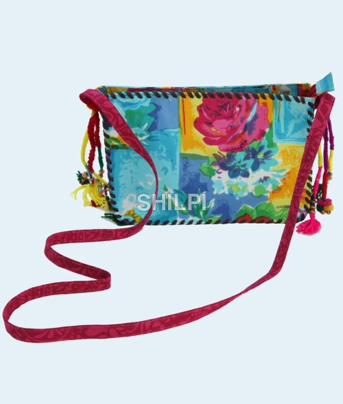 Multi Colored Print Sling Bag with Multi Colored Tassles