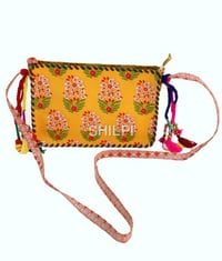 Yellow Printed Sling Bag with Multi Colored Tassles