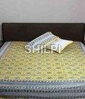 Cotton hand block printed grey bed sheet