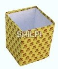 Handmade paper yellow printed square pen stand