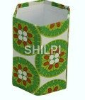 Handmade paper green and white floral print hexagonal pen stand