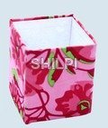 Handmade paper pink printed  square pen stand