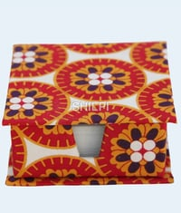 Red and White Floral Printed Slip Box with 150 handmade paper note slips