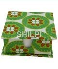 Green and White Printed Slip Box with 150 handmade paper note slips