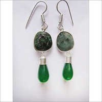 2 Pcs Emerald & Green Onyx Stone Silver Plated Earrings Ready To Wear