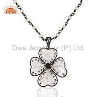 Flower Rhodium Plated Silver Natural Pearl Beaded Chain Pendant Necklace Jewelry