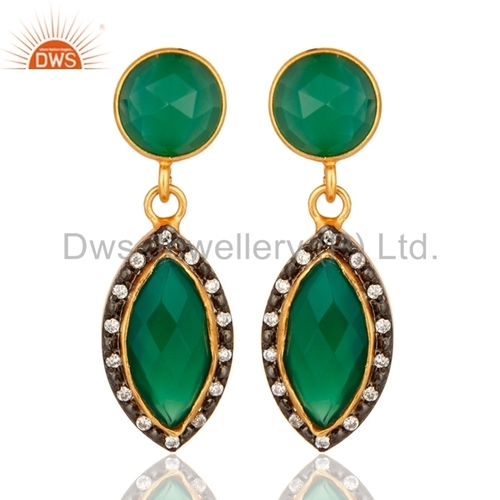 Green Onyx Gold Plated 925 Silver Earrings