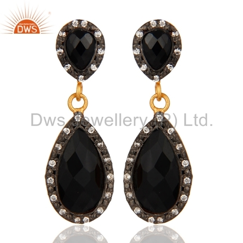 14K Gold Plated 925 Silver Black Onyx Earrings