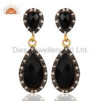 14K Gold Plated 925 Silver Black Onyx Earrings