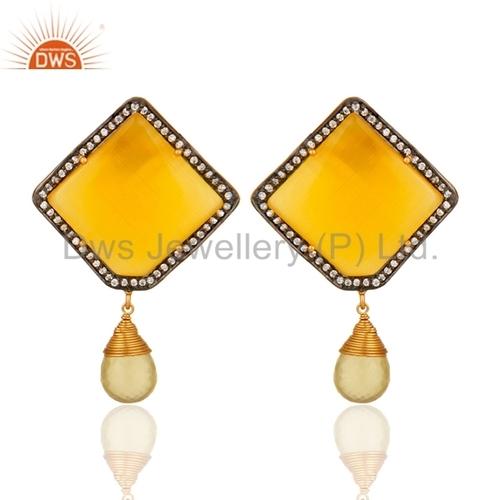Zircon and Moonstone 925 Silver Drop Earrings