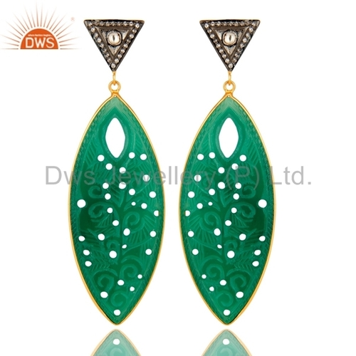 Green Onyx Carving Gold Plated Earrings