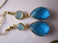 2PCS BT QUARTZ & AQUA CHALCEDONY 18K GOLD PLATED EARRINGS READY TO WEAR
