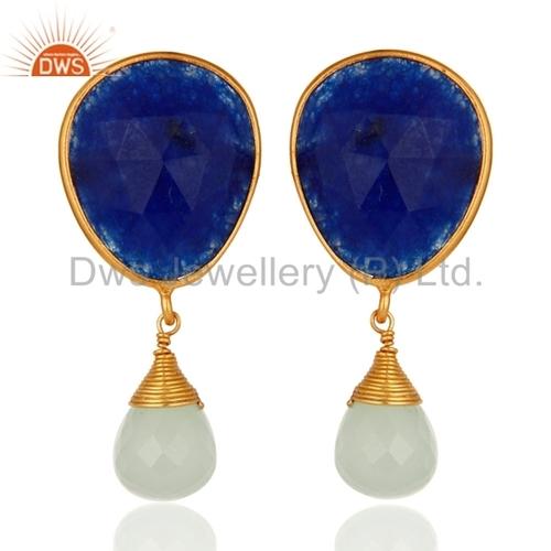 Gold Vermeil Sterling Silver Blue Aventurine Earrings