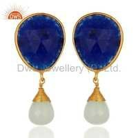 Gold Vermeil Sterling Silver Blue Aventurine Earrings